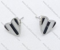 Epoxy Black and White Heart Stainless Steel earring - JE050020