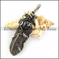 Vintage Feather Pendant with big Black Stone p003868