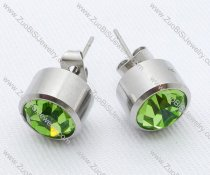Clear Green Color Zircon Stainless Steel earring - JE050005