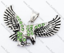 Stainless Steel Hawk Pendant with Clear Green Stone - JP420005