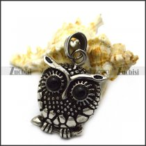 Owl Pendant with 2 Black Eyes p007087