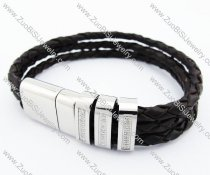 Stainless Steel 3 Lines Brown Leather Bracelet - JB400036