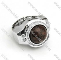 Silver Ring Watch with Brown Stone - PW000011-5