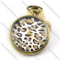 45mm Wide Leopard Quartz Pocket Watch with Chain for Unisex -pw000345