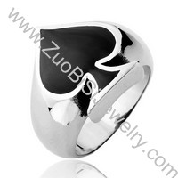 Black Epoxy Stainless Steel Spade Ring - JR350017