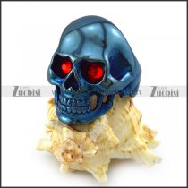 Shiny Blue Plating Stainless Steel Skull Ring with 2 Ruby Rhinestones Eyes r004292