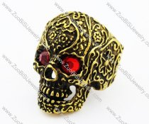 Gold Plated Stainless Steel Skull Ring with 2 Red Eyes -JR010191