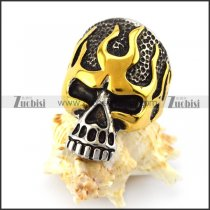 vintage gold blaze skull ring for motorcycle riders r004822