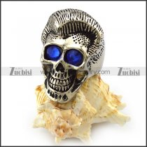 Silver Stainless Steel Handsome Skull Ring with Blue Rhinestones Eyes r004308