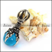 Vintage Stainless Steel Pendant with Clear Blue Ball p003948