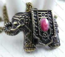antique elephant pocket watch with pink enamel -PW000112