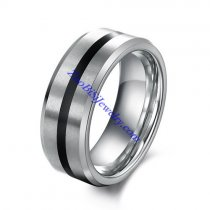 tungsten rings for men with 1 black in the middle JR490001