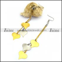 Steel Earring with 2 Gold Plating Heart Charm and 1 Silver Heart Charm e001215