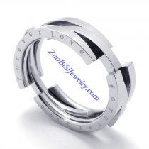 8mm Wide Stainless Steel Flexible FOREVER LOVE Rings as Great Valentine Gift for Lover JR430006