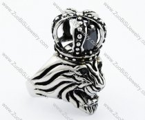 Stainless Steel crowned lion Ring - JR090288
