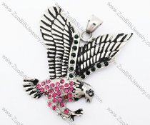 Stainless Steel a bird of Jove Pendant in Dark Pink Rhinestone - JP420008