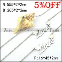Love Heart Steel Necklace and Bracelet Set s001961