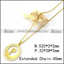 Gold Plating Initial P Pendant Necklace n001705