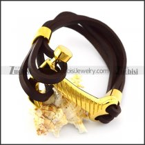 Gold Plated Stainless Steel Hammer Leather Bracelet b006144