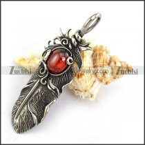 Clear Red Stone Stainless Steel Feather Pendant p003867