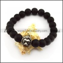 20 Black Beads with 10mm Diameter and One SS Metal Lion Bead b005945
