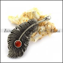 50MM Vintage Steel Feather Pendant with Red Rhinestone p004214