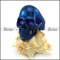 Blue Rhinestones Eyes Skull Ring in Blue Plating r004293