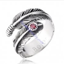 Feather Ring with Red Rhinestone -JR350258
