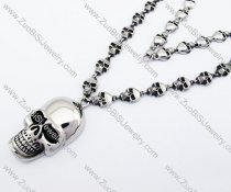 Stainless Steel Skull Chain Necklace with Large Skull Head Pendant -JN170020