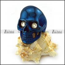 Blue Stainless Steel Skull Ring with Crystal Eyes r004291