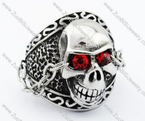 Red Eyes Stainless Steel skull Ring with Chain - JR090284