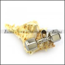 Silver Tone Unique Dumbbell Stainless Steel Pendant matching Chain for Mens p004569