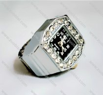 Silver Crystal Stone Ring Watch - PW000091