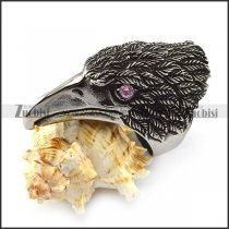 Big Eagle Ring with Clear Pink Stone Eyes r004569