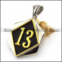 Biker Pendant with Golden Diamand and 13 p004288
