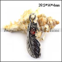 Retro Feather Charm w Clear Red Rhinestone p003476