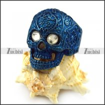Clear Rhinestone Eyes Flower Skull Ring in Shiny Blue Plating r004312