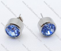 Clear Sky Blue Zircon Stainless Steel earring - JE050006