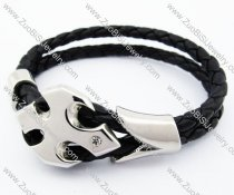Stainless Steel 2 Lines Leather Bracelet with Batman - JB400039