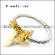 Silver Stainless Steel Wire Balge with Golden Dragon Head b005834