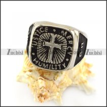 JUSTICE MERCY HUMILITY Cross Ring r004959