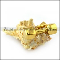 Gold Tone Special Dumbbell Stainless Steel Men's Pendant p004570