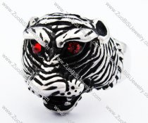 Stainless Steel Fierce Tiger Ring with Red Eyes Stones -JR010203