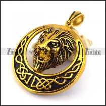 Antique Gold Steel Lion Pendant p003295