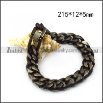Stainless Steel Link Bracelet in Black Burnout Finishing with Pearl Buckle b005860