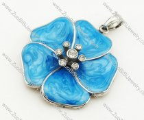 Stainless Steel Bright Blue Enamel Flower pendant - JP090323