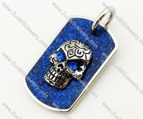 Blue Crystal Eye Skull Stainless Steel Tag pendant - JP090336