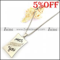 MISS YOU Stainless Steel Necklace Chain n001303