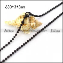 Black Stainless Steel Ball Chain in 3mm Wide n001523