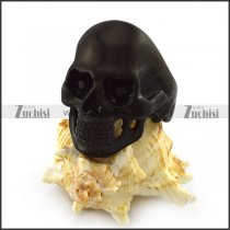 Black Plating Skull Ring with Dark Black Rhinestones Eyes r004294